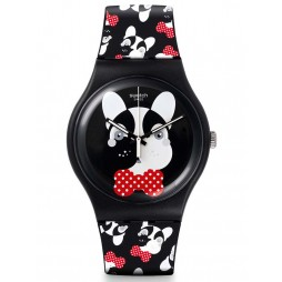 Swatch Unisex Andy Baby Black Red Dog Strap Watch SUOB115