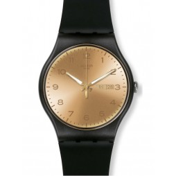 Swatch Unisex Golden Friend Black Strap Watch SUOB716