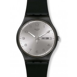 Swatch Unisex Silver Friend Black Strap Watch SOUB717