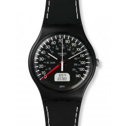 Swatch Unisex Black Brake Black Strap Watch SUOB117