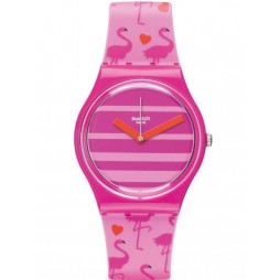 Swatch Ladies Miami Peach Strap Watch GP144