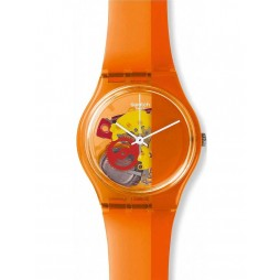Swatch Unisex Bloody Orange Strap Watch GO116