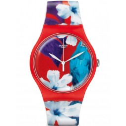 Swatch Unisex Red Flower Watch SUOR105