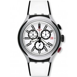 Swatch Mens Black Wheel White Chronograph Strap Watch YYS4005