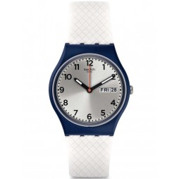 Swatch Mens White Delight Strap Watch GN720