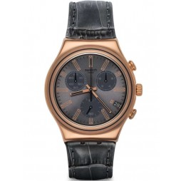 Swatch Mens Gris En Rose Rose Gold Plated Strap Watch YCG411