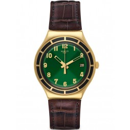 Swatch Mens Dollarone Gold Plated Brown Leather Strap Watch YGG406