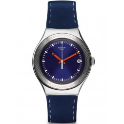 Swatch Unisex Blue Bienne Leather Strap Watch YGS468