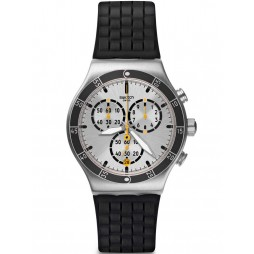 Swatch Mens Jump High Black Chronograph Strap Watch YVS420