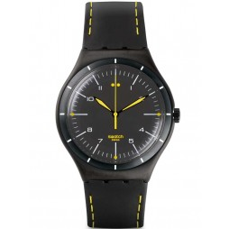 Swatch Mens Black Bliss Leather Strap Watch YWB100