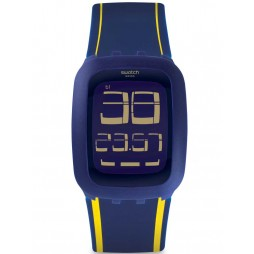 Swatch Mens Wee Hours Blue Yellow Strap Watch SURN106