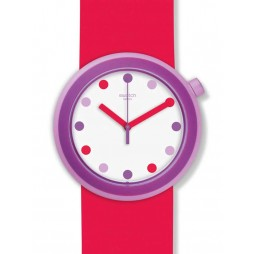 Swatch Popalicious Red Purple Strap Watch PNP100