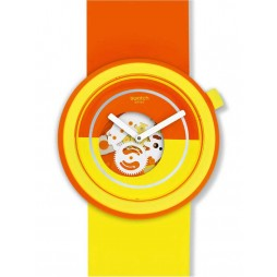 Swatch Popover Yellow Orange Skeletal Dial Strap Watch PNO100