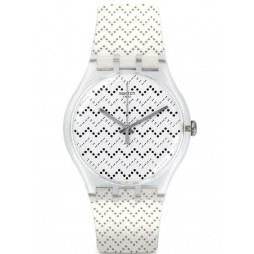 Swatch Wavey Dots White Strap Watch SUOK118