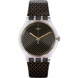 Swatch Grid Light Black And Gold Strap Watch SUOK119