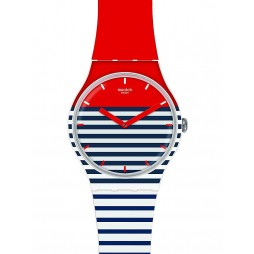 Swatch Mens Maglietta Multicoloured Striped Strap Watch SUOW140
