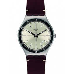 Swatch Mens Four Stitches Brown Strap Watch YWS423