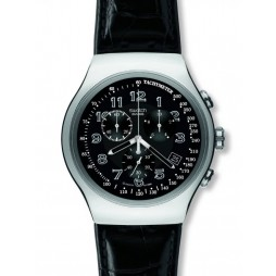 Swatch Mens Your Turn Chronograph Black Leather Strap Watch YOS440