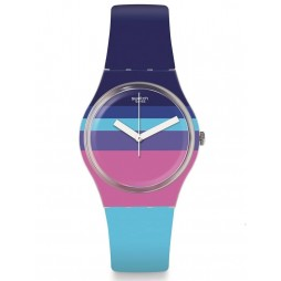 Swatch Azulheure Multicolour Rubber Strap Watch GE260