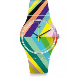 Swatch Psycadelic Multicolour Rubber Strap Watch SUOW155