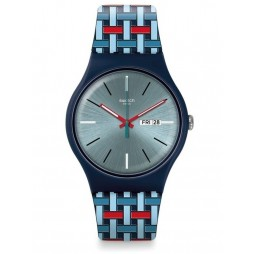 Swatch Wovering Silver Dial Multicolour Rubber Strap Watch SUON710