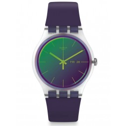 Swatch Polapurple Matte Rubber Strap Watch SUOK712
