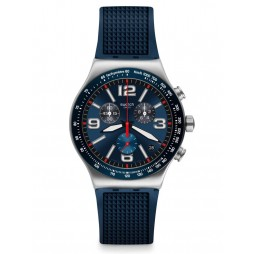 Swatch Blue Grid Chronograph Blue Rubber Strap Watch YVS454