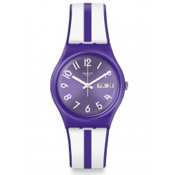 Swatch Nuora Gelso Purple and White Stripe Rubber Strap Watch GV701
