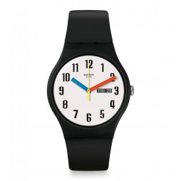 Swatch Unisex Elementary Black Rubber Strap Watch SUOB728