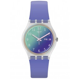 Swatch Unisex Ultralavande Purple & White Rubber Strap Watch GE718
