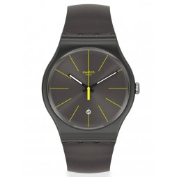 Swatch Charcolazing Grey Rubber Strap Watch SUOB404