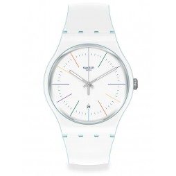 Swatch White Layered Rubber Strap Watch SUOS404