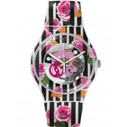 Swatch Ladies Rose Explosion Strap Watch SUOW110