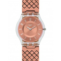 Swatch Pink Cushion Rose Gold Plated Bracelet Watch SFE110GB