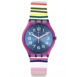 Swatch Ladies Funny Lines Multicolour Rubber Strap Watch GP153