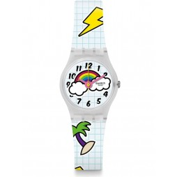 Swatch Ladies School Break Patterened White Rubber Strap Watch LW160