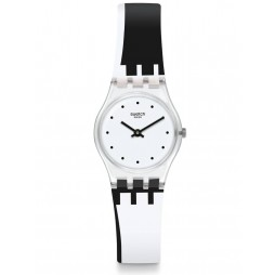 Swatch Ladies Dot Around The Clock Monochrome Rubber Strap Watch LK370