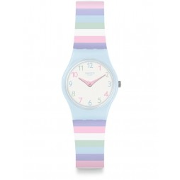 Swatch Pastep Multicolour Stripe White Rubber Strap Watch LL121