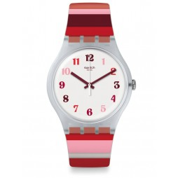 Swatch Tramonto Occaso Red Multicolour Stripe Rubber Strap Watch SUOK138