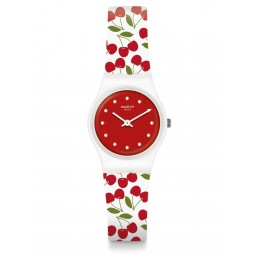 Swatch Cerise Moi Cherries Rubber Strap Watch LW167