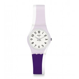 Swatch Ladies Purpletwist Purple Rubber Strap Watch LW169