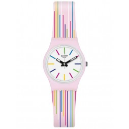 Swatch Ladies Pink Mixing Stripes Rubber Strap Watch LP155