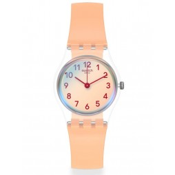 Swatch Ladies Casual Pink Rubber Strap Watch LK395
