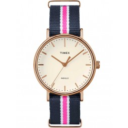 Timex Weekender Ladies Rose Gold Plated Fabric Strap Watch TW2P91500