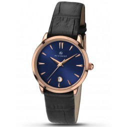 Accurist Ladies Rose Gold Plated Black Strap Watch 8074