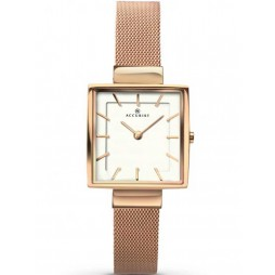 Accurist Ladies Rose Gold Plated Square Mesh Bracelet Watch 8132