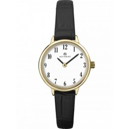 Accurist Ladies Gold Plated White Dial Black Leather Strap Watch 8264