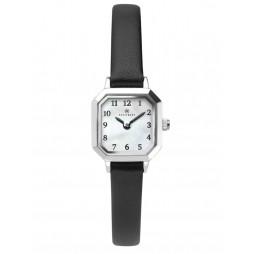 Accurist Ladies Octagon White Dial Black Leather Strap Watch 8267