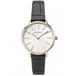 Accurist Ladies Contemporary Rose Gold Plated White Patterned Dial Black Leather Strap Watch 8322