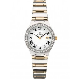 Accurist Ladies Two Tone Stone Set White Watch 8204